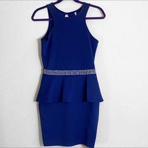 Royal blue peplum dress with rhinestone belt